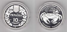 UKRAINE – SILVER PROOF 10 HRYVEN COIN 2000 YEAR KM#121 POTAMON TAURICUM CRAB