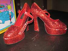 """Crazy red glitter sparkle 5"""" platform mary jane heels sz 6 stripper"""