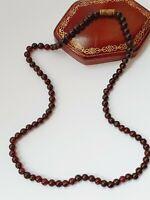 "Vintage 17"" Garnet Single Strand Beaded Necklace"