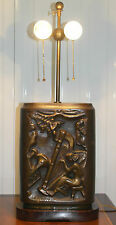 STUNNING SOLID BRONZE JOHN HOVANNES ART LAMP DEPICTING MUSICIANS & BALLERINAS