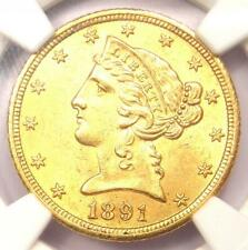 1891-CC Liberty Gold Half Eagle $5 Coin - NGC UNC Detail (MS) - Rare Carson City