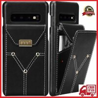 FYY Lightweight Cowhide Genuine Leather Wallet Case for Samsung Galaxy S10+ Plus