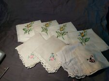 Mixed Lot Of 8 Vintage Linen Napkins (hand-painted & Stitched)