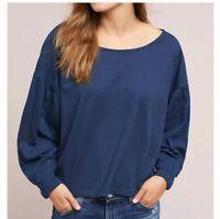 Anthropologie t.La shae ballon sleeve knit top small navy blue long sleeve