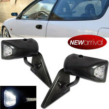 For 90-93 Accord F1 Manual Adj Carbon Painted Side Mirror / White LED Signal