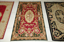 3'X5' Vintage French Swirls Pink Rose Burgandy Country Home Decor Aubusson Rug