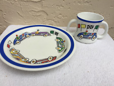 2002 TIFFANY & CO RACE CARS BABY 2-PIECE SET (2 HANDLED CUP, PLATE) RETIRED