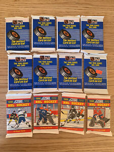 12 Unopened Packs Of 1990s NHL Ice Hockey Bubblegum / Trading Cards