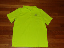 UNDER ARMOUR HEATGEAR SHORT SLEEVE BRIGHT YELLOW POLO SHIRT BOYS LARGE EXCELLENT