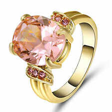 Size 8 Women's Pink Sapphire Crystal Wedding Ring 10KT yellow Gold Filled Band