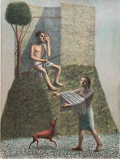 RODOLFO  MELI  litografia 2 Ragazzi con cane  80x60 firmata numerata