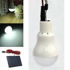 Solar Panel Powered LED Bulb Light Portable Outdoor Camping Tent Energy Lamp 3W