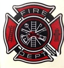 "Fire Dept., Firefighter, Reflective Vinyl Decal,  4"" wide Black/Red  #FD74"