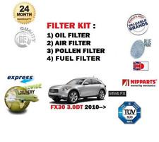 Pour INFINITI FX30 3.0DT 2010-Huile Air Pollen Carburant 4X Filtre Service Kit