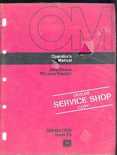 John Deere Operators Manual 70 Lawn Tractor