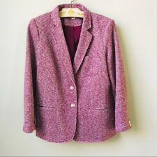 Tommy Hilfiger Knit Blazer Jacket Women's Size 12 Heathered Burgundy Two Buttons