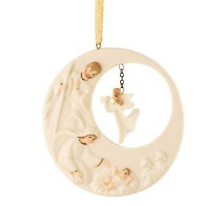 Belleek China Living Christmas Nativity Angel Hanging Ornament. Boxed.New