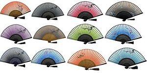 Handheld Folding Fans 3 Mix Random Colours Designs Tokyo Blossom Silk Fabric