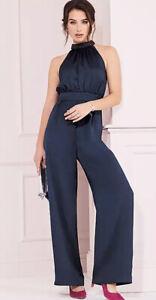 kaleidoscope Navy Alterneck Jumpsuit Size 10 New Was £75