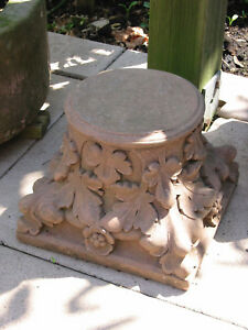 Sockel Säule Rosen Blumen Blüten klein Sandstein Antik Look Steinguß U 13 ROT