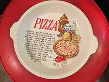 Vintage Retro Pizza Pie with Recipe Ceramic Baking Dish
