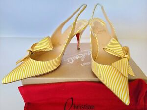 Christian Louboutin Clare Nodo 80 Striped Bow Red Sole Slingback Pumps Eur 40.5