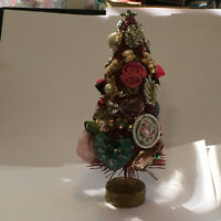 """VALENTINE BOTTLE BRUSH TREE 8"""" TALL ENCRUSTED WITH VINTAGE JEWELRY AND ROSES"""