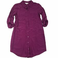 Entro Dress Size Small Purple 3/4 Long Sleeve Button Down Collared Tunic Pockets