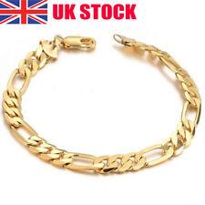 7'' Fashion 18K Yellow Gold Plated Flat Chain Bracelet Women Men Jewelry Gift UK