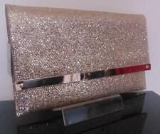 LADIES WOMENS GOLD GLITTER SHIMMER LARGE CLUTCH BAG HANDBAG **NEW**