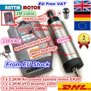 EU➝ 2.2KW Air Cooled Spindle Milling Motor ER20 w/ HY 2.2Kw Inverter Drive VFD