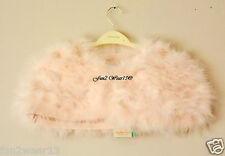BNWT Monsoon Filles Peach Pink Feather Marabou Crystal Cape BOLERO 10-13 an robe