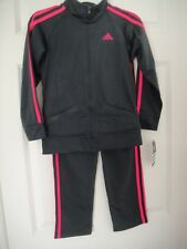 ADIDAS NWT Girls 2PC Set Track Suit Jacket Pants Top Warm Up Zip Gray Pink 6X