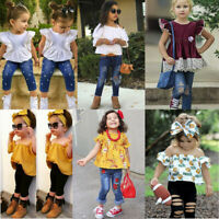 Toddler Kids Baby Girls Outfits Solid Floral T-shirt Tops+Long Pants Set Clothes