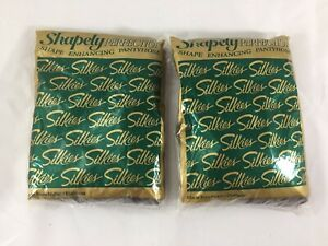 Lot of 2 Vintage Silkies Shapely PERFECTION Pantyhose X-Tall Misty Gray USA 140