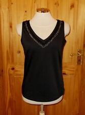 AGENDA black stretch fringe tassle bead vneck vest tunic top party evening 12 40
