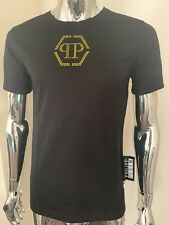 Philipp Plein Original Large Black/Yellow Platinum Cut Crystal T-shirt BNWT