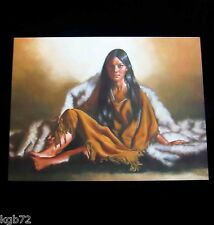 Leanin Tree Western Native Fur Woman Blank Greeting Card Multi Color R303