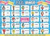 """PEZ - 2 Visitor Center Cards - BINGO & """"Have your next party at PEZ"""" - Very Cool"""