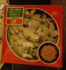 """Vintage Christmas Tree Topper White Poinsettia Flower Ring 10 Light 8"""" round"""