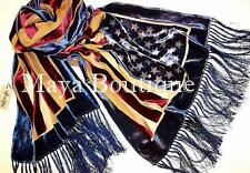 USA Flag Scarf Shawl Fringed Wrap Silk Burnout Velvet Designed By Maya Shawl
