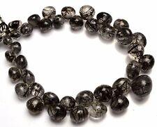 "Natural Sri Lanka Black Rutile 6 to12MM Smooth Onion Shape Briolettes 8"" Strand"