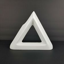 Mid Century Ikebana Vase Pottery Triangle Geometric Japan Modernist White Vtg