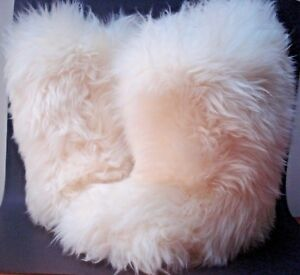 AUTHENTIC UGG FLUFF MOMMA SHEARLING BOOTS ORIGINAL CREAM 5 FITS A 6 NEW RARE