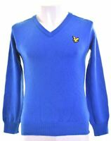 LYLE & SCOTT Mens V-Neck Jumper Sweater Small Blue Wool  KS06