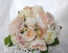 PRETTY VINTAGE WEDDING BOUQUET ARTIFICIAL SILK FLOWER PINK PEONY CREAM ROSE