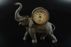 L2717: XF Japanese Old Copper elephant-shaped CLOCK ORNAMENTS object art work