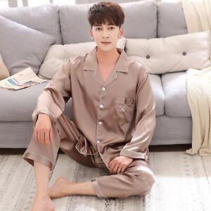 Couple Men Women Silk Satin Pajamas Sets Long Sleeve Pyjamas Sleepwear Nightwear