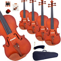 1/4 1/2 4/4 3/4 Size Matte Natural Maple Acoustic Violin w/Case+Bow+Rosin+Tuner