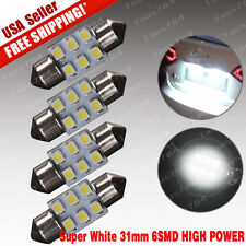4x Pure White 31mm Festoon 6-SMD DE3175 DE3022 LED Map Dome Interior Light Bulbs
